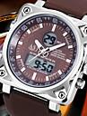 Hommes Bracelet Montre Quartz LCD / Calendrier / Chronographe / Etanche / Double Fuseaux Horaires / penggera Caoutchouc BandeNoir / Blanc
