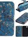abrikozenbloesem ontwerp pu lederen flip case voor de iPhone 4 / 4s