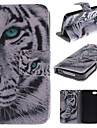 White Tiger Design PU Leather Full Body Cover with Stand and Money Holder for iPhone 4/4S