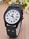 Hombre Reloj Militar Cuarzo Calendario Piel Banda Negro / Verde Marca-