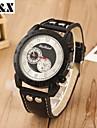 Hombre Reloj Cuarzo Reloj Militar Calendario Piel Banda Reloj de Pulsera