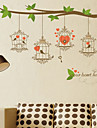 Wall Stickers Wall Decals Style Green Branch Bird Cage PVC Wall Stickers