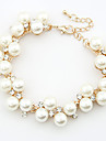 European Style Fashion Elegant Rhinestone Imitation Pearl Chain Bracelet Christmas Gifts