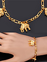 U7® Figaro Chains Elephants Charms Bracelets 18K Real Gold Plated Fashion Jewelry Bangle For Women Men