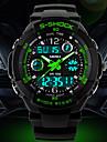 男性 腕時計 日本産クォーツ スポーツウォッチ LCD / カレンダー / クロノグラフ付き / 耐水 / 2タイムゾーン / アラーム ラバー バンド リストウォッチ