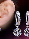Stud Earrings Sterling Silver Alloy Zircon Simulated Diamond Birthstones Silver Jewelry Daily Casual Sports 2pcs