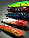 5 pcs Hard Bait / Fishing Lures Hard Bait / Popper Green / Orange / White / Yellow / Red / Assorted Colors / Blue 12 g/7/16 oz. Ounce,90mm