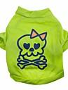 Коты Собаки Футболка Зеленый Одежда для собак Лето Весна/осень Черепа Милые Хэллоуин