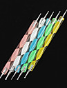 5PCS 2-Way Nail Art Dotting Colorful Waves Handle Dot Tools Kits