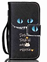 Black Cat Pattern PU Leather Material Flip Card Phone Case for iPhone 4/4S