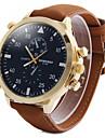 Men\'s Fashion Big Dial Khaki Leather Strap Quartz Watch Wrist Watch Cool Watch Unique Watch