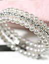 여성 포장 팔찌 멀티 레이어 펄 모조 진주 라인석 모조 다이아몬드 합금 화이트 보석류 용 일상 캐쥬얼 1PC