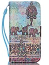 Elephant Pattern PU Leather Material Flip Card Phone Case for iPhone 5C