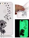 Para iPhone X iPhone 8 Capinha iPhone 5 Case Tampa Brilha no Escuro Capa Traseira Capinha dandelion Macia PUT para iPhone X iPhone 8 Plus