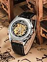 남성용 손목 시계 기계식 시계 오토메틱 셀프-윈딩 가죽 밴드 블랙 브라운
