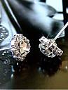 Pendientes cortos Punos del oido Cristal Chapado en Oro La imitacion de diamante Forma de Flor Foco Multicolor Dorado JoyasFiesta Diario