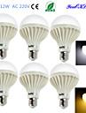 12W E26/E27 Lampadine globo LED B 18 SMD 5630 900 lm Bianco caldo / Luce fredda Decorativo AC 220-240 V 6 pezzi