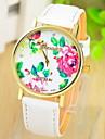 reloj del estilo de Bohemia de la impresion multicolor pu banda de cuero pulsera de cuarzo analogico de la mujer (color clasificado)