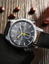 Hommes Montre Bracelet Quartz Montre Decontractee Cuir Bande Noir Blanc Noir