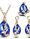 Mulheres Conjunto de Joias Moda Joias de Luxo bijuterias Cristal Austriaco Liga Caido Colares Brincos Aneis Para Casamento Festa Diario