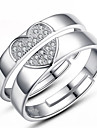 Ring Wedding / Party / Daily Jewelry Sterling Silver Women / Men / Couples Couple Rings 2pcs,Adjustable Silver