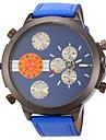 Herren Militaeruhr Quartz Duale Zeitzonen Leder Band Armbanduhr Blau / Rot / Orange / Braun