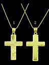 or 18k jesus plaque pendentif croix