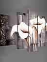 Ручная роспись Цветочные мотивы/ботанический Любая форма,Классика Modern 5 панелей Холст Hang-роспись маслом For Украшение дома