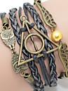 Leather Bracelet Men\'s Brown Wings/Owl Braided/Cord Leather Handmade Multilayer Charm Bracelet Unisex
