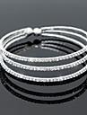 Femme Bracelets Rigides Bracelets de tennis Elegant Mariee Multicouches Cristal Zircon Strass Alliage Forme de Cercle Argent Bijoux Pour