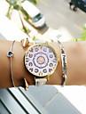 아가씨들 패션 시계 팔찌 시계 석영 PU 밴드 꽃패턴 블랙 화이트 브라운 핑크