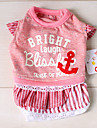 Dog Shirt / T-Shirt / Dress Blue / Pink Dog Clothes Spring/Fall Letter & Number / Stripe Fashion