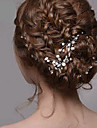 Women\'s Silver Pearl Rhinestone Hairpins Hair Jewelry for Wedding Party