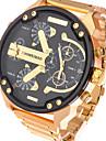 Men\'s Sport Watch Military Watch Dress Watch Fashion Watch Wrist watch Quartz Calendar Dual Time Zones Stainless Steel BandVintage Cool