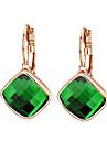 HKTC Dazzling Cz Jewelry 18k Rose Gold Plated Green Austria Crystal Rhombus Shape Drop Earrings