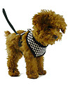 Dog Harness / Leash Adjustable/Retractable Red / Black Textile