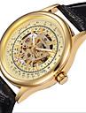 남성 스켈레톤 시계 기계식 시계 중공 판화 오토메틱 셀프-윈딩 가죽 밴드 블랙 브라운