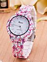 Damen Modeuhr Quartz Plastic Band Blume Rosa Marke-