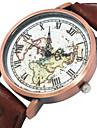 Heren Modieus horloge Kwarts Vrijetijdshorloge Stof Band World Map Patroon Zwart Wit Rood Bruin Zwart Bruin