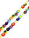 Beadia 38Cm/Str 8x4mm Flat Round Millefiori Flower Lampwork Glass Beads(1.0mm Hole)
