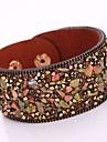 Femme Bracelets Bracelets en cuir Mode Boheme Adorable bijoux de fantaisie Cuir Strass Alliage Forme Geometrique Bijoux Pour Soiree