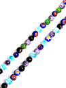 Beadia 38Cm/Str 6mm Round Millefiori Flower Lampwork Glass Beads(1.0mm Hole)