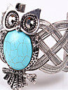 European and American fashion classic antique silver turquoise owl wide cuff bracelets