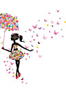 Faerie Umbrella Girl Romantic Backdrop Decorative Glass Decals