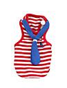 Chat Chien Tee-shirt Vetements pour Chien Mode Britannique Rouge Bleu