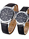 Couple Montre Habillee Montre Tendance Montre Decontractee Quartz Cuir Bande retro Noir Marron