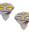 2PCS MR11 12LED SMD5050 2W  DC12V 150-200LM Warm White / Cool White Spot Bulb