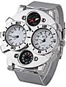 Oulm Мужской Армейские часы Compass Термометр С двумя часовыми поясами Кварцевый Японский кварц Нержавеющая сталь Группа CoolСеребристый