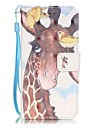 Giraffe Pattern Perspective Shiny Glare Material PU Leather Card Holder for  iPhone 7 7 Plus 6s 6 Plus SE 5s 5
