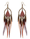 Bohemian Retro Bronze Dangle Earrings 2016 Brown Color Long Feather Earrings Fashionable Women Girls Party Earrings